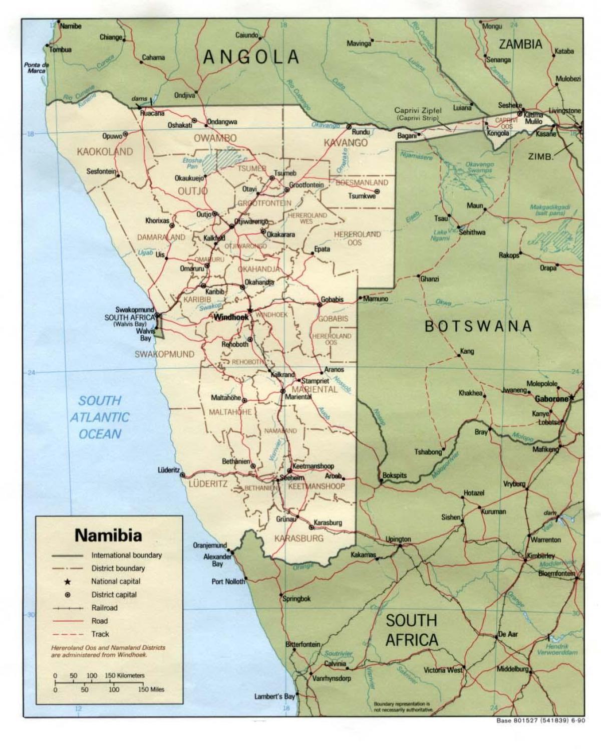 Terkep Namibia Reszletes Terkep Namibia Del Afrika Afrika